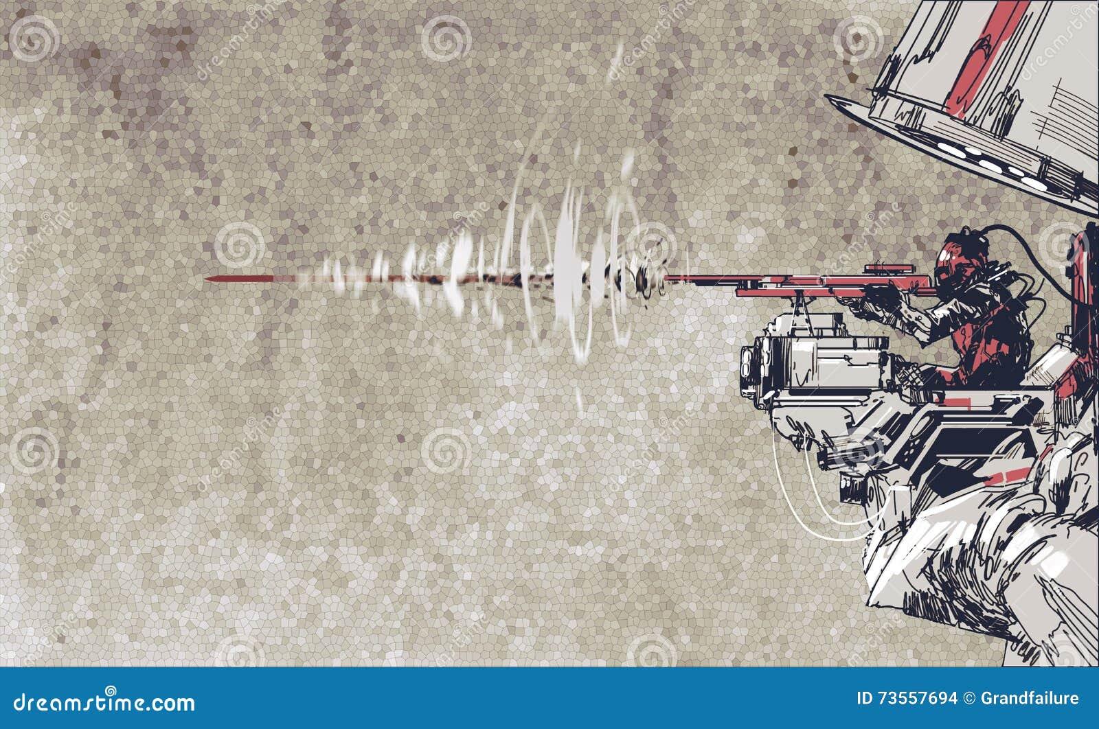 Fucile della fucilazione del soldato con il concetto futuristico