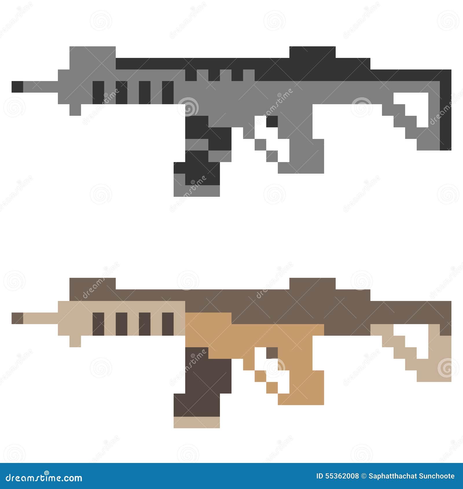 Fucile di assalto della pistola dell icona di arte del pixel dell illustrazione