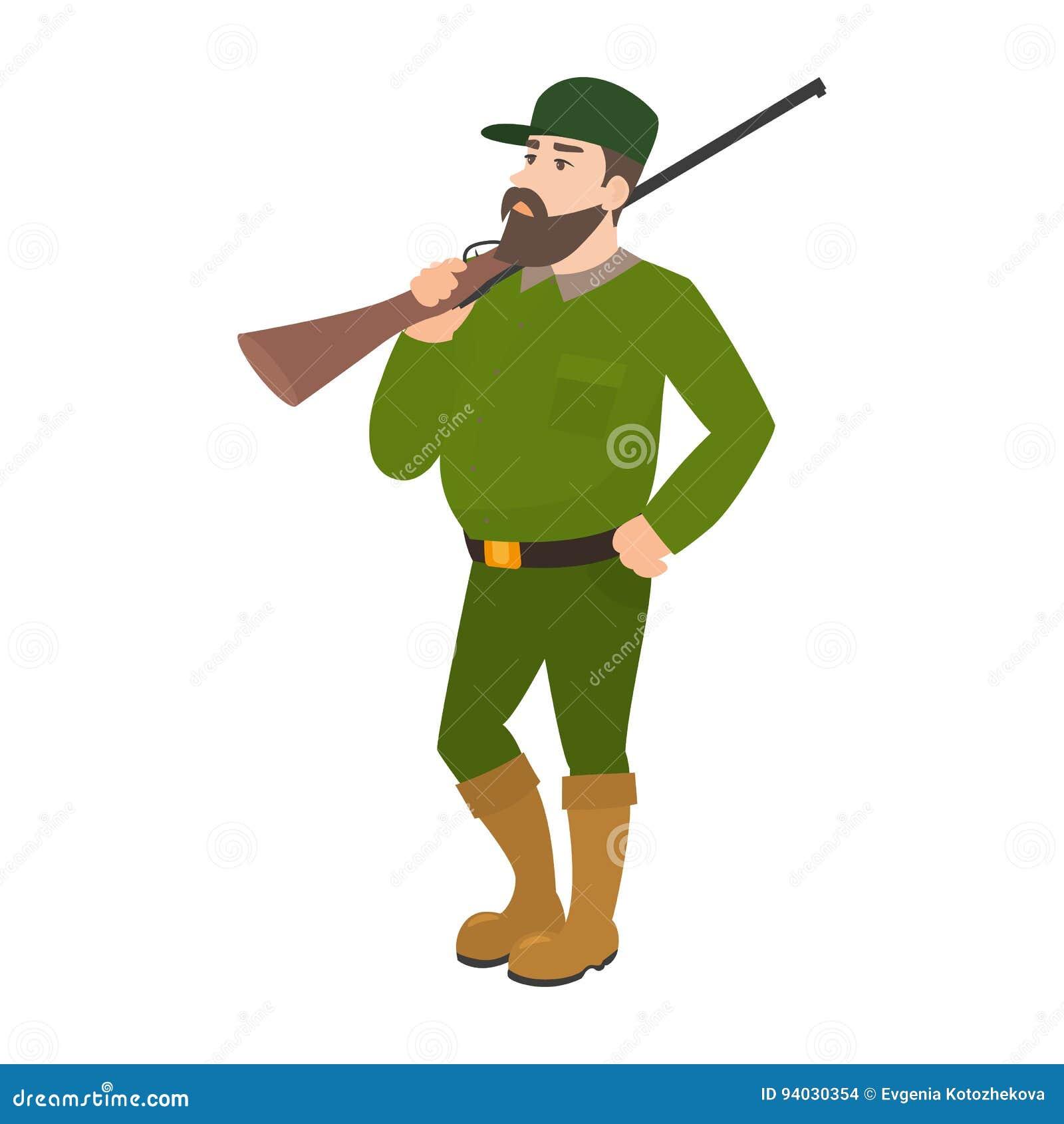 Fucile di caccia dell uniforme di verde di cacciatore del fumetto di vettore