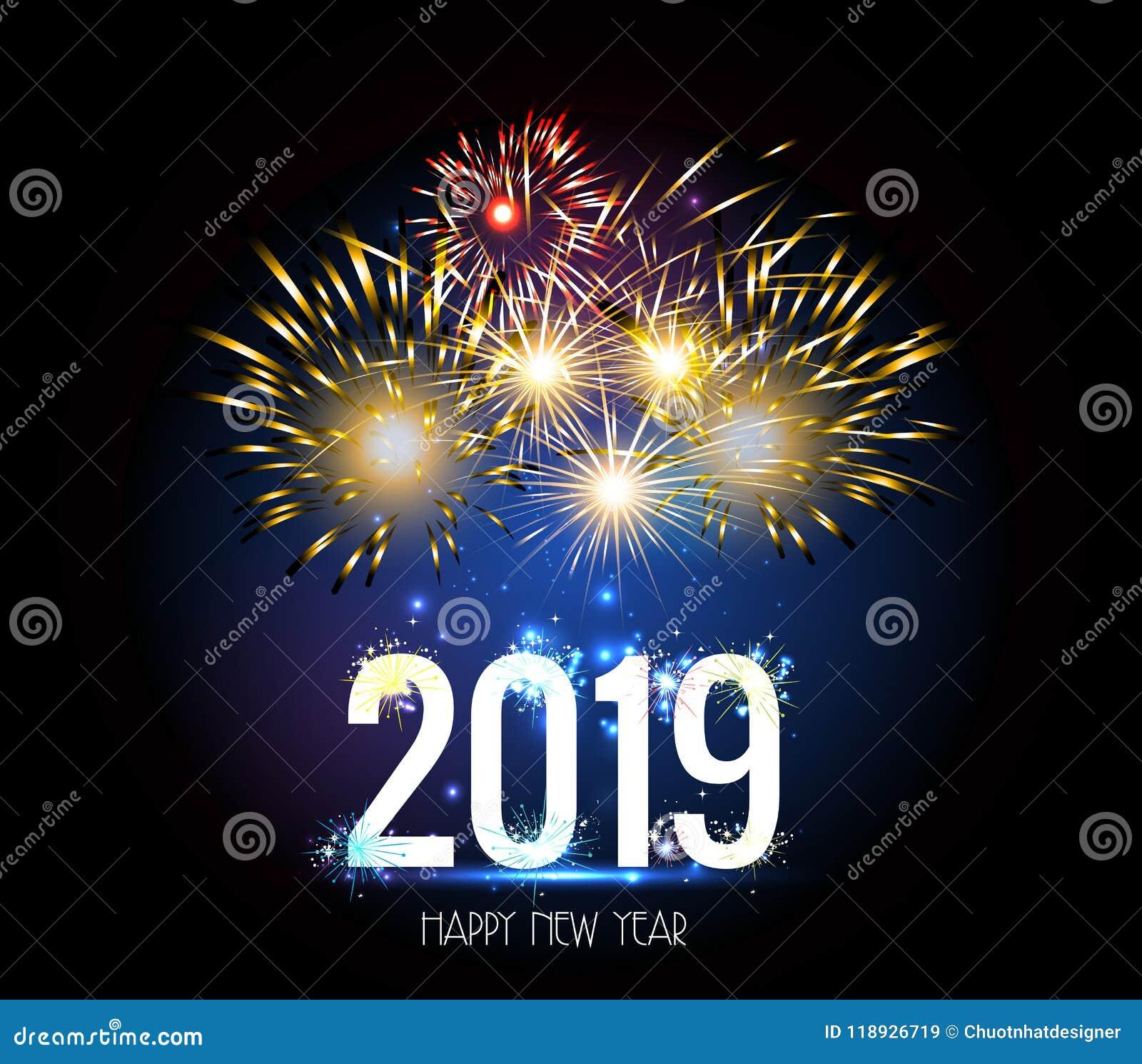 Fuego Artificial 2019 De La Feliz Ano Nuevo Ilustracion Del Vector