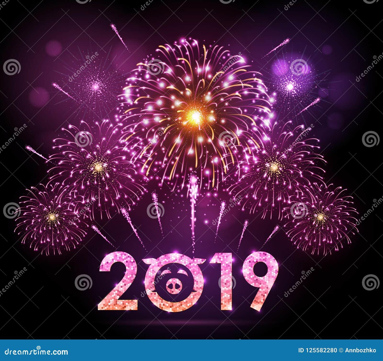 Fuego artificial del rosa del festival del día de fiesta del vector Tarjeta de la Feliz Año Nuevo