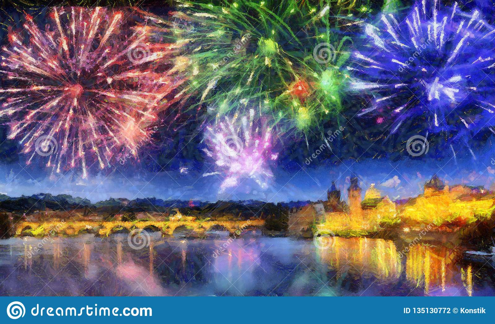 Fuego artificial festivo sobre Charles Bridge, Praga, República Checa