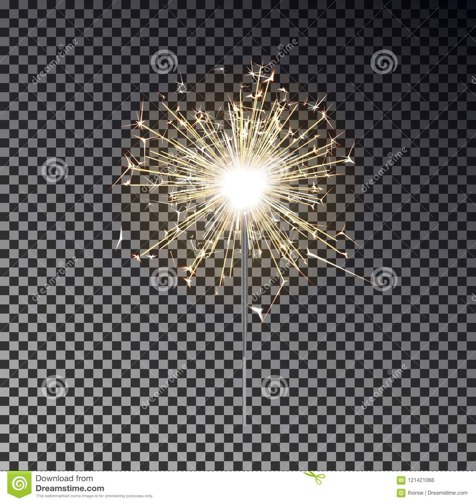 Fuego de Bengala Vela de la bengala del Año Nuevo aislada en fondo transparente EFF realista de la luz del vector