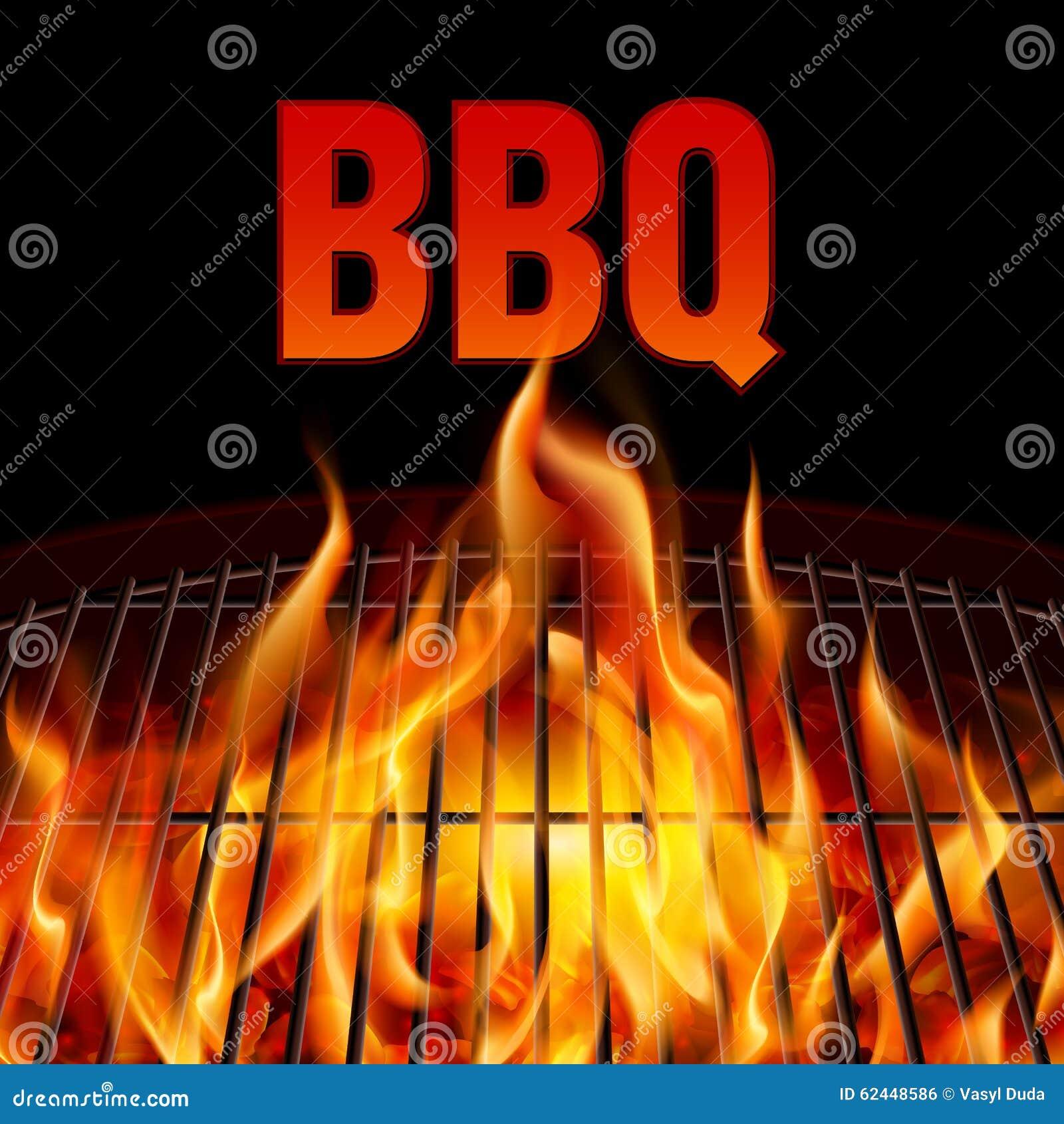 Fuego de la parrilla del Bbq