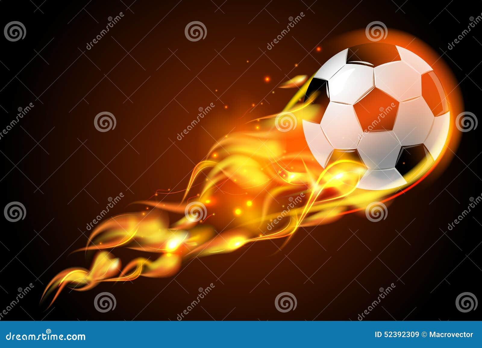 El Portero Del Fútbol Golpeó El Ejemplo Del Vector Del: Fuego Del Balón De Fútbol En Fondo Negro Ilustración