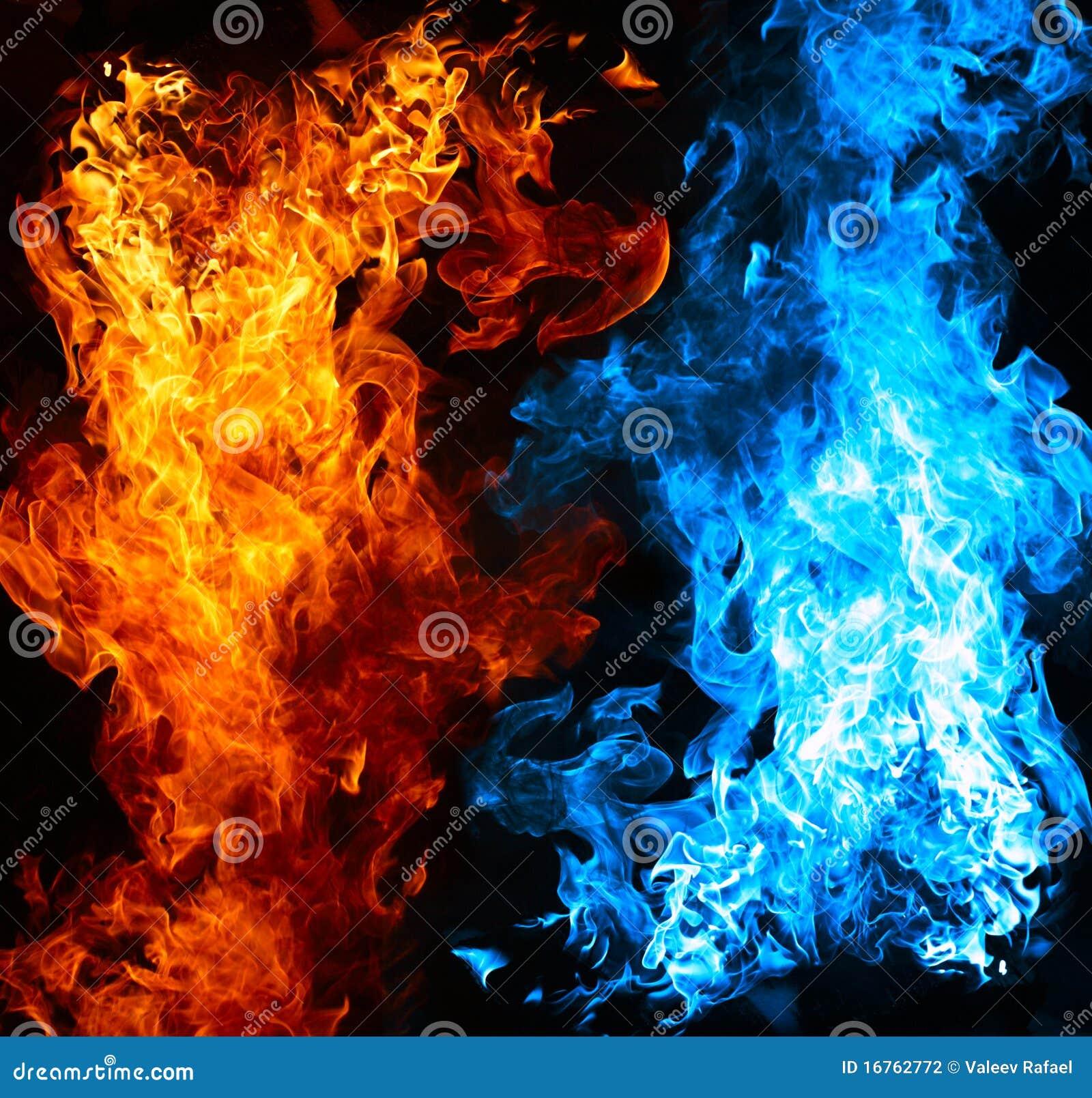 Fuego rojo y azul