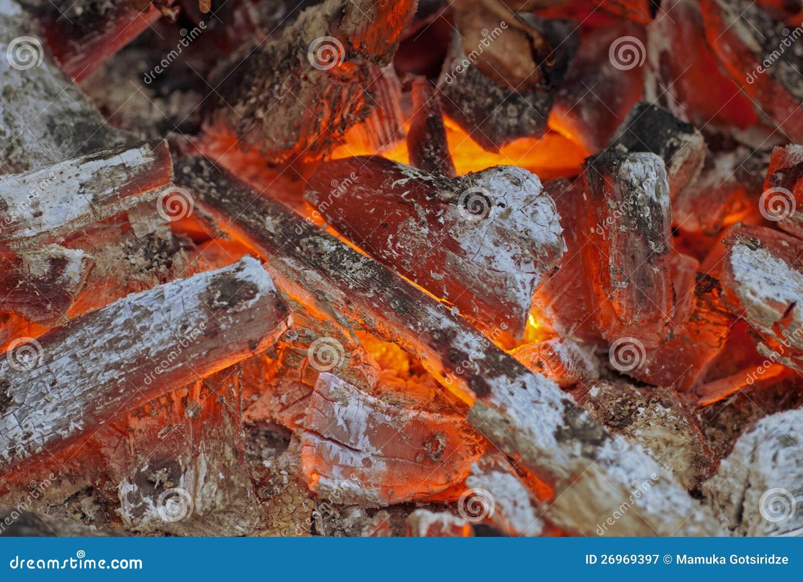 Fuego y carbón de leña de muerte