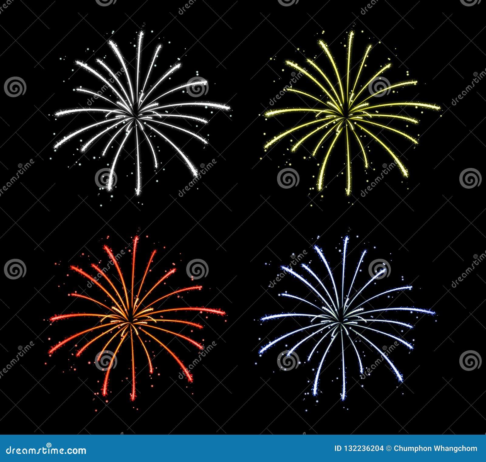 Fuegos artificiales coloridos aislados en fondo oscuro puro Decoración festiva de la celebración