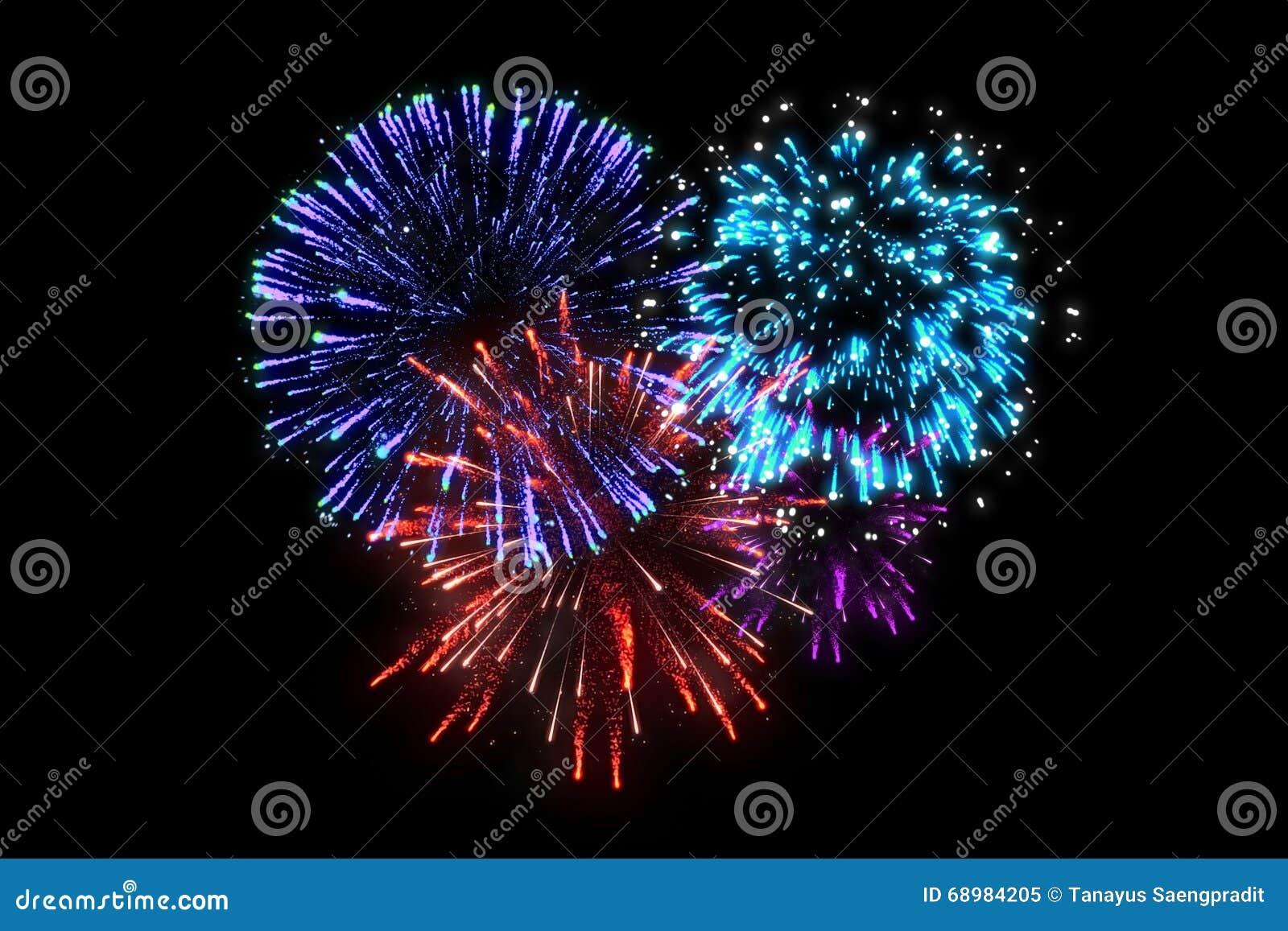 Fuegos artificiales coloridos en la medianoche de la celebración