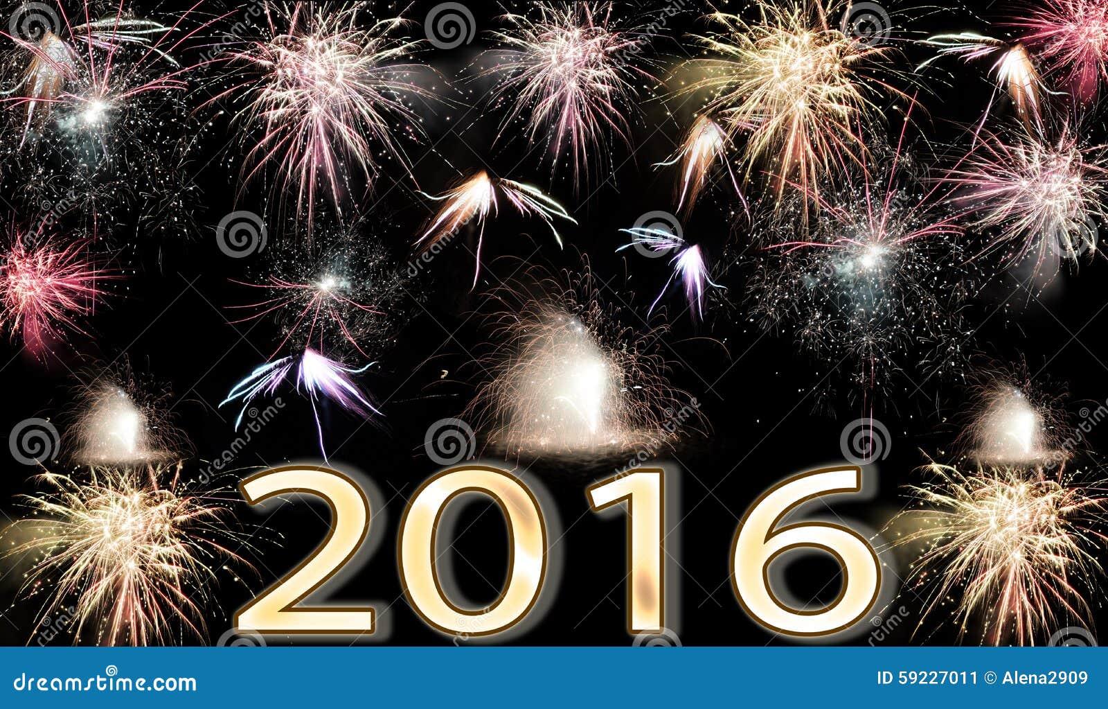 Download Fuegos Artificiales De La Feliz Año Nuevo 2016 Imagen de archivo - Imagen de víspera, fantástico: 59227011