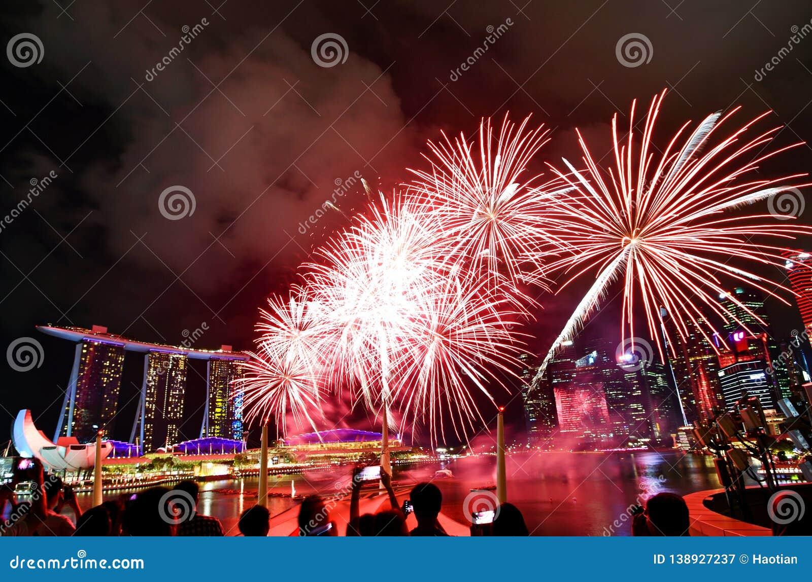 Fuegos artificiales lunares del Año Nuevo 2019 de Singapur