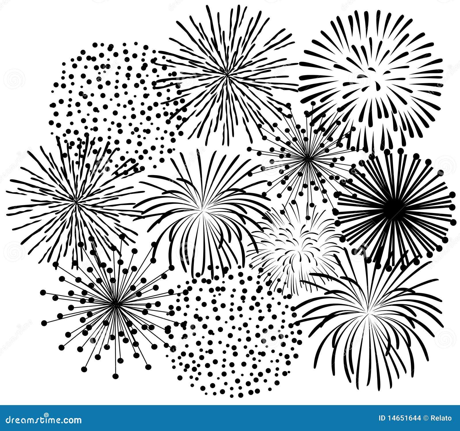 Fuegos Artificiales Negros Ilustracion Del Vector Ilustracion De