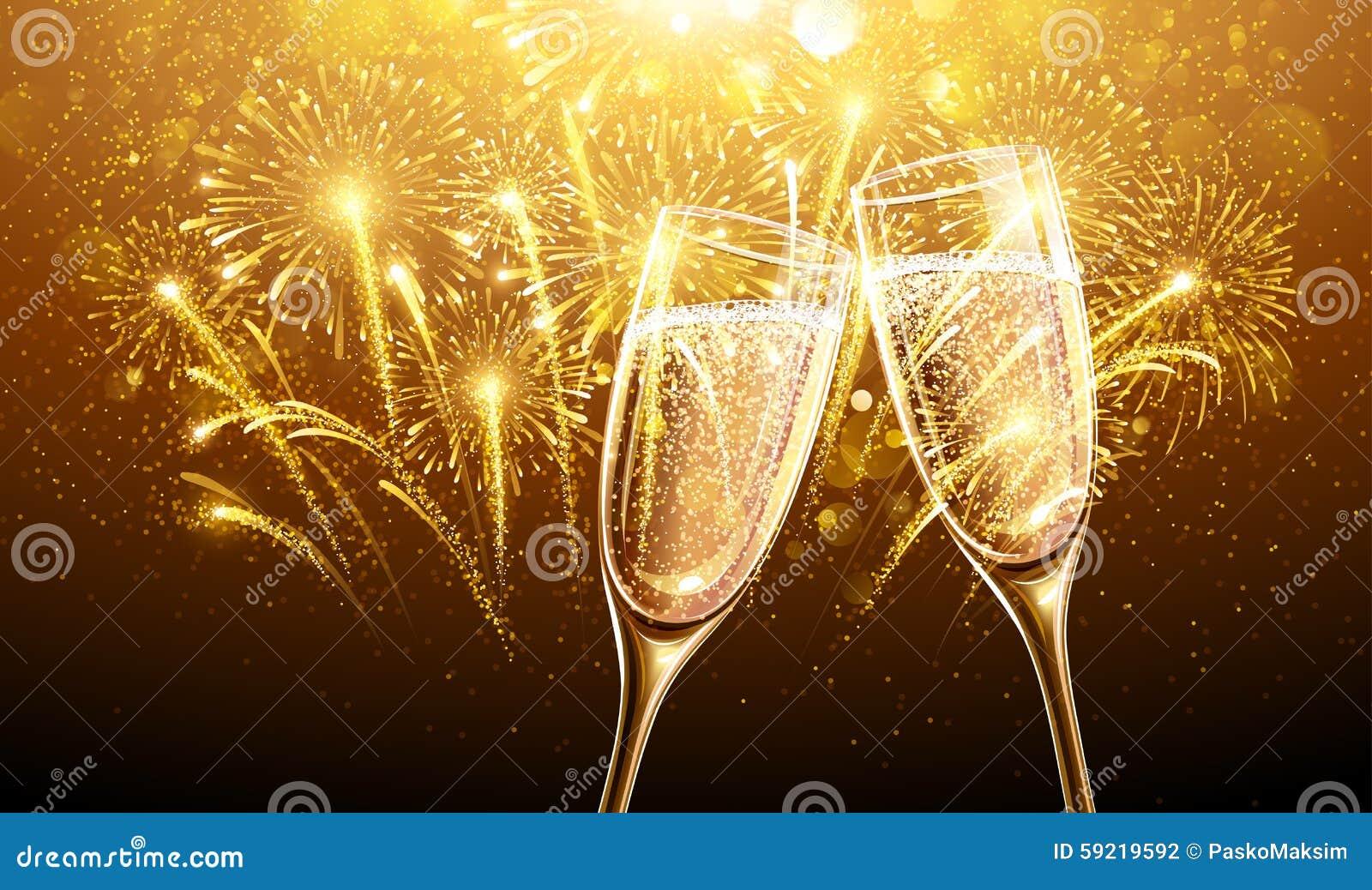 Fuegos artificiales y champán del Año Nuevo