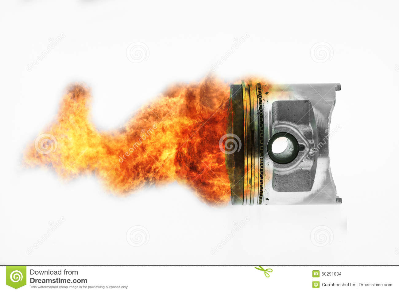 Fuel Burning On Top Of Engine Piston Burning Fire Flame
