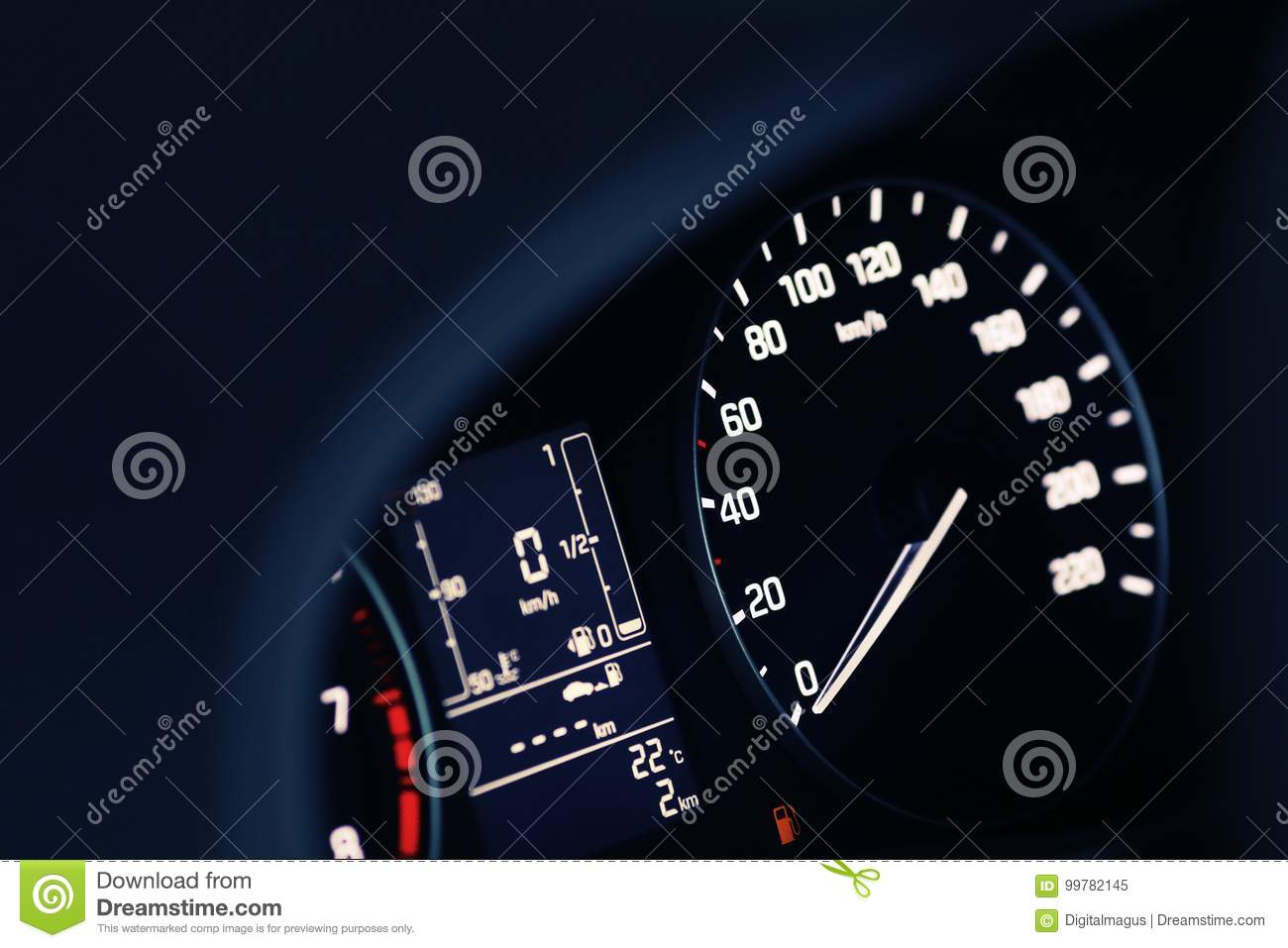 Empty Tank Indicator On Car Dashboard Stock Image - Image of