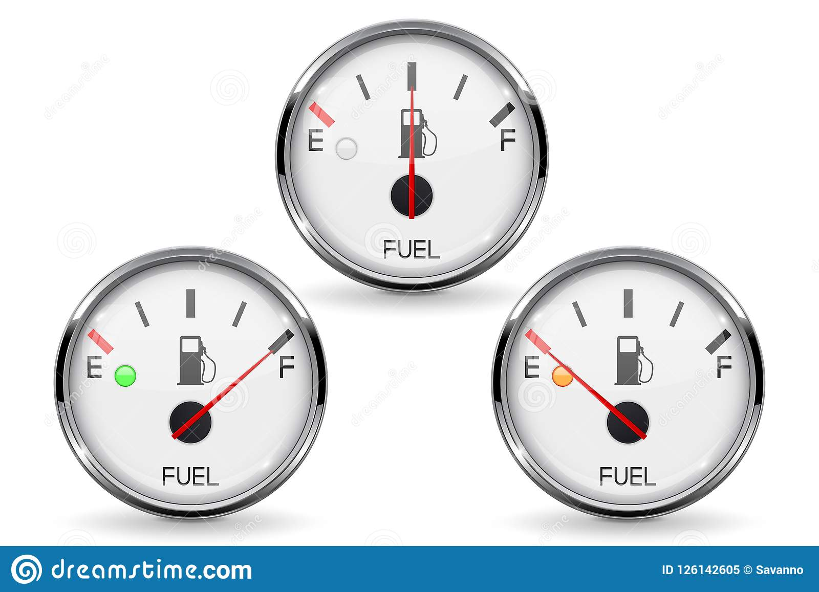 Fuel Gauge Set Of Round White Car Dashboard 3d Devices With Chrome