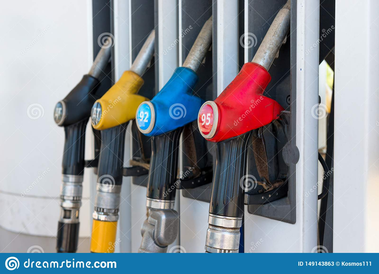 Fuel Guns At A Gas Station Stock Image  Image Of Business