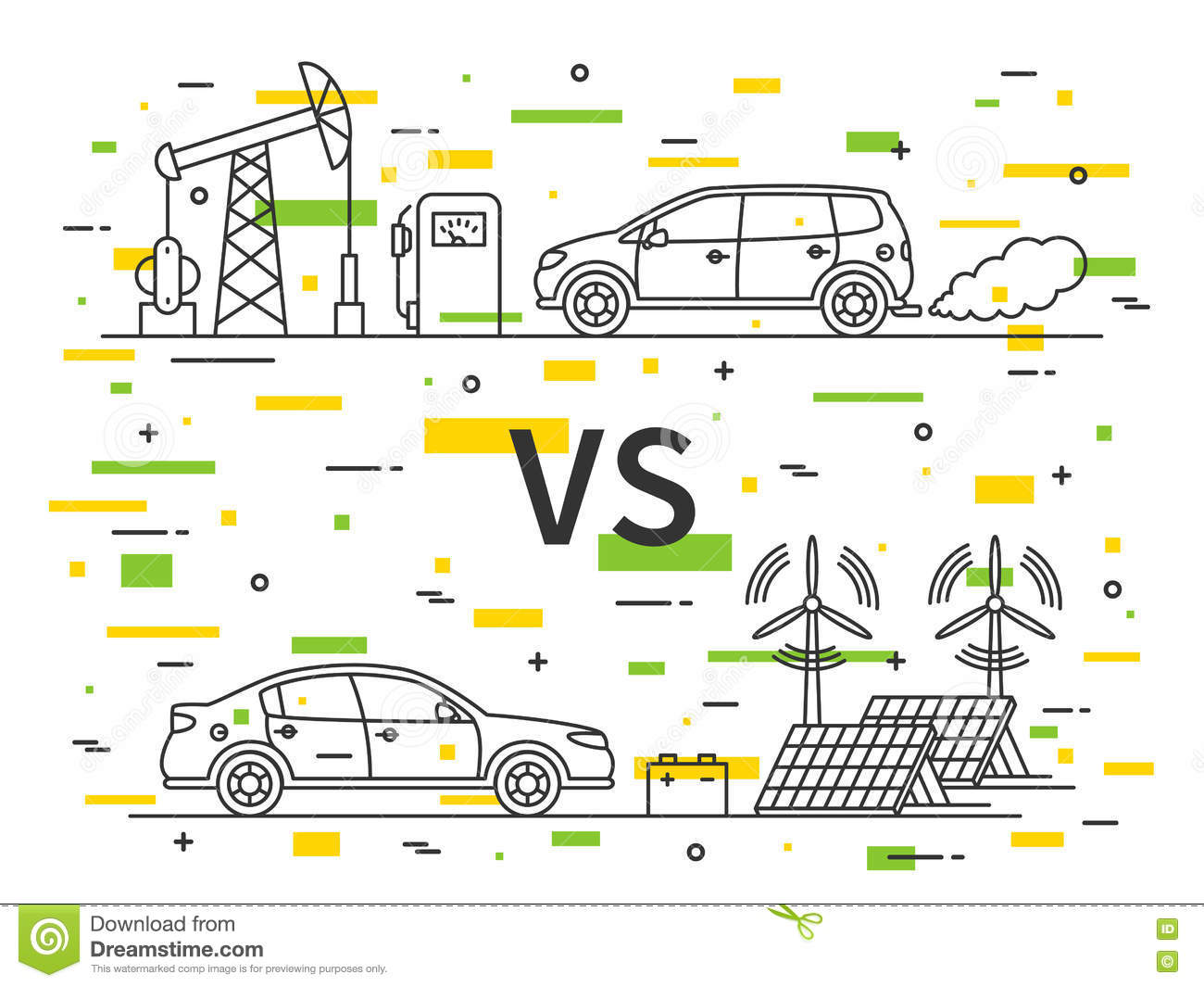 Fuel Vs Electric Car Vector Concept Stock Vector Image