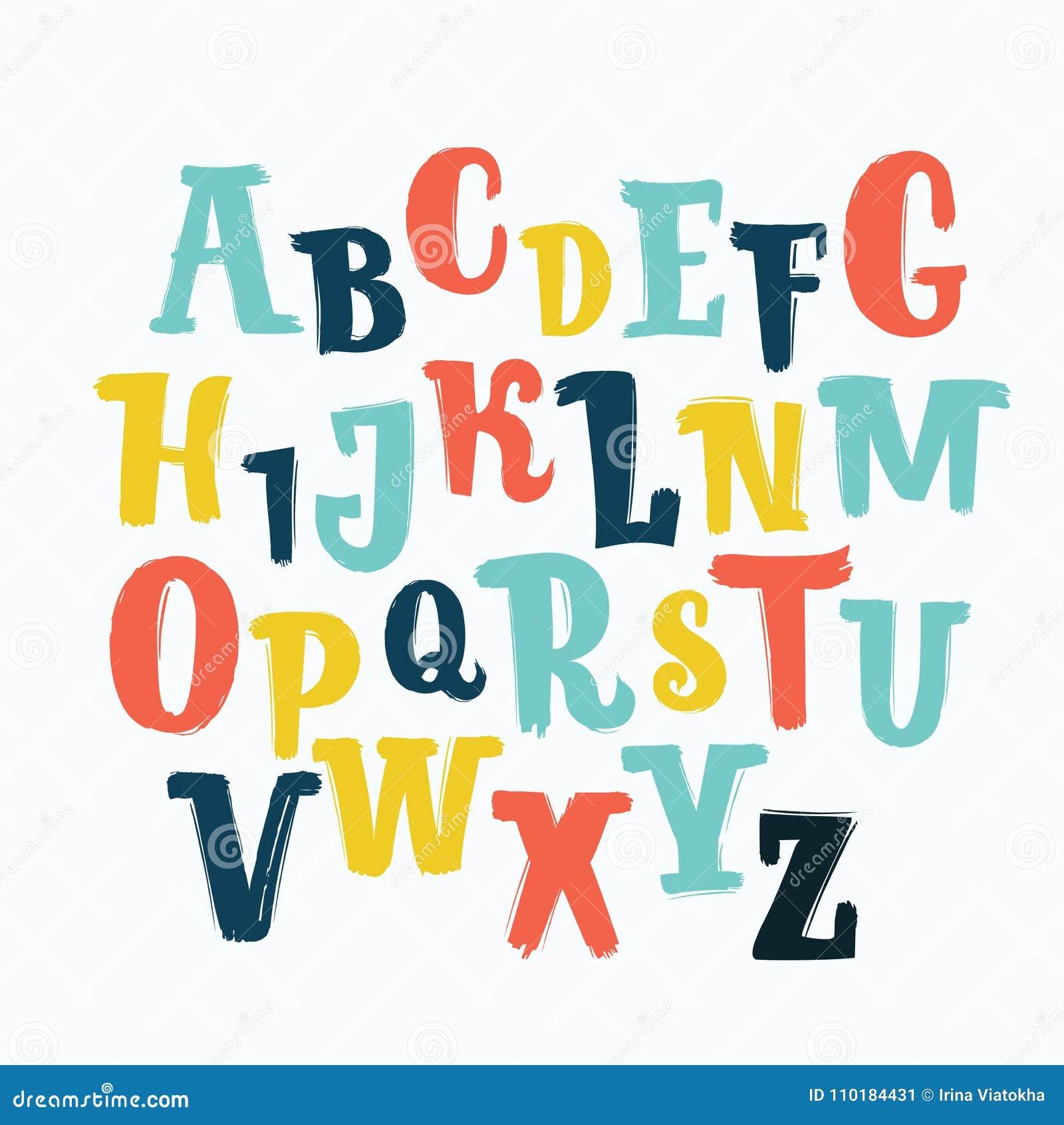 Fuente única de las letras del vector, mano dibujada ABC, niños, divertidos, niños Aisladas, las letras fijadas, alfabeto, pintur