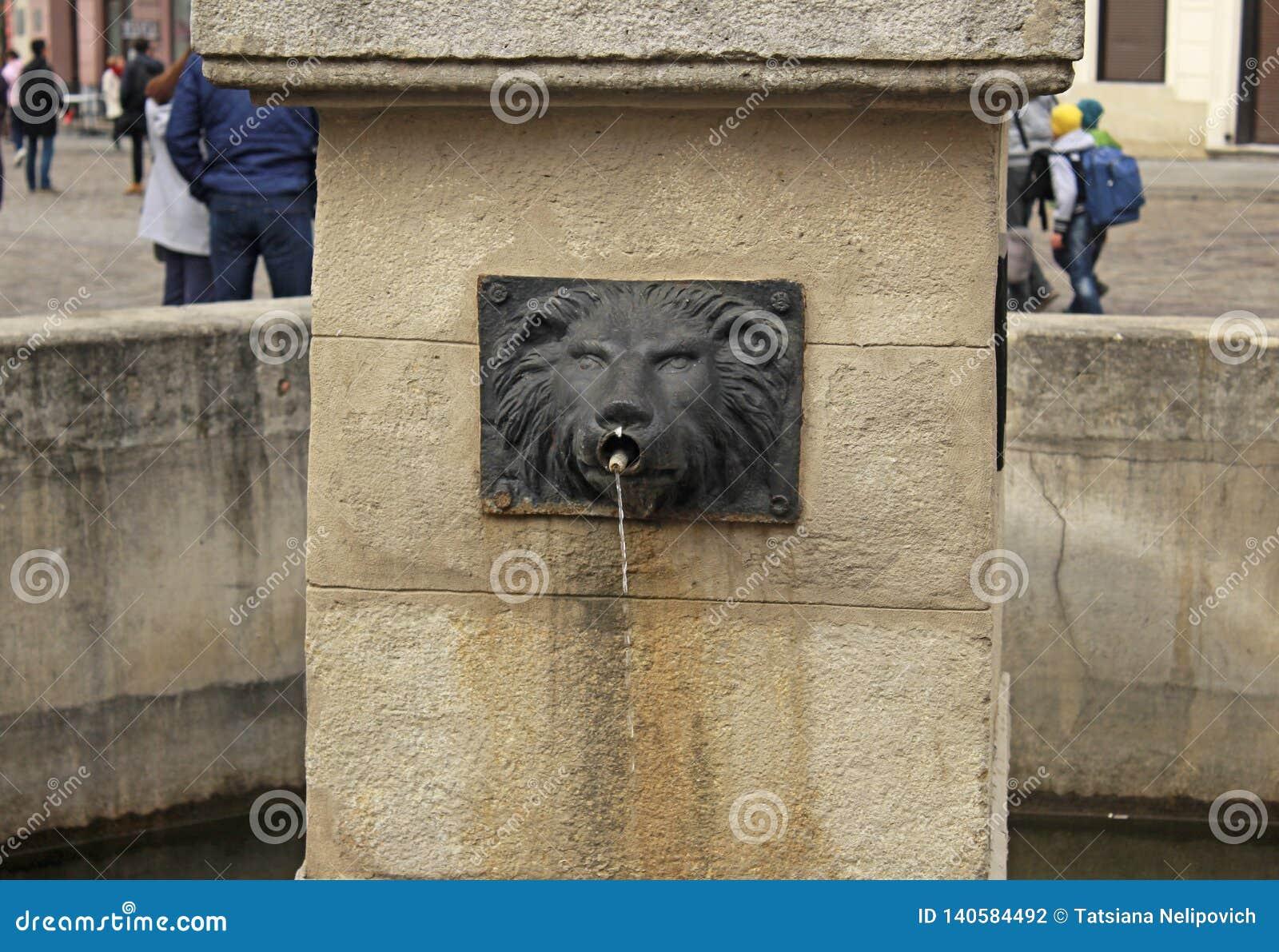 Fuente bajo la forma de cabeza de un león en Lviv, Ucrania