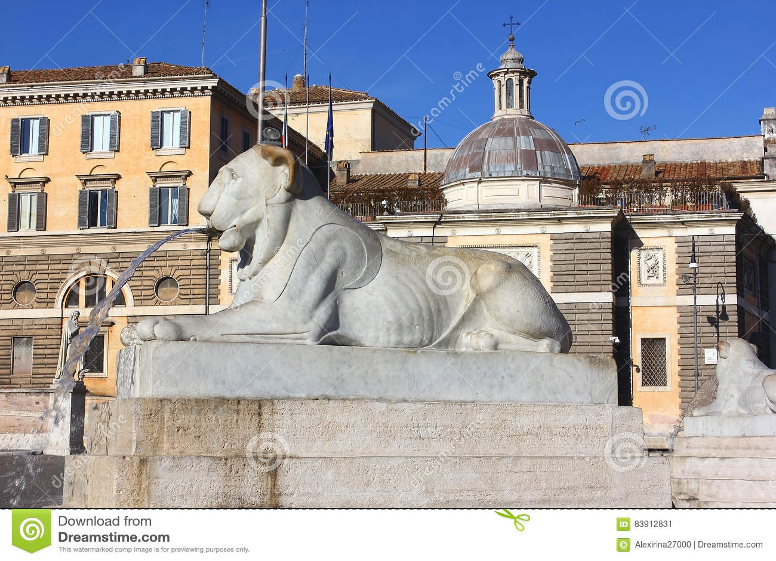 Fuente bajo la forma de león de mentira, Piazza del Popolo, Roma