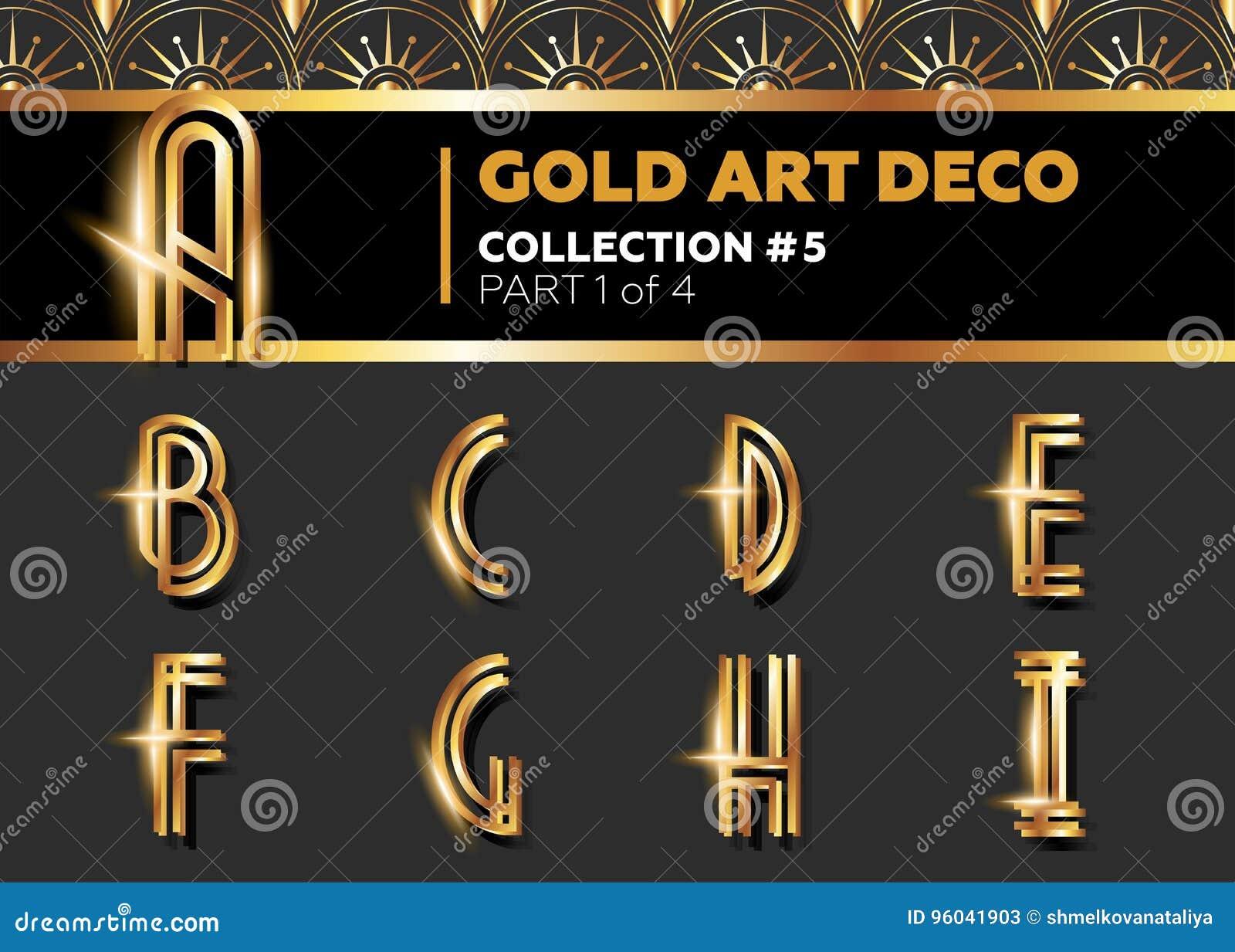 Fuente de Art Deco 3D del vector Alfabeto retro del oro brillante Pocilga de Gatsby