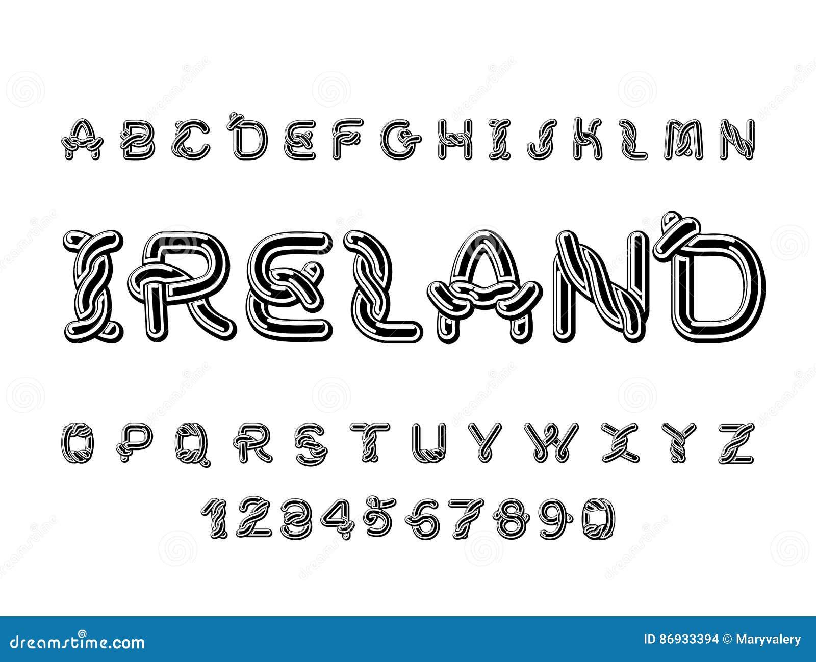 Fuente De Irlanda Alfabeto Céltico Nacional Orname Irlandés ...