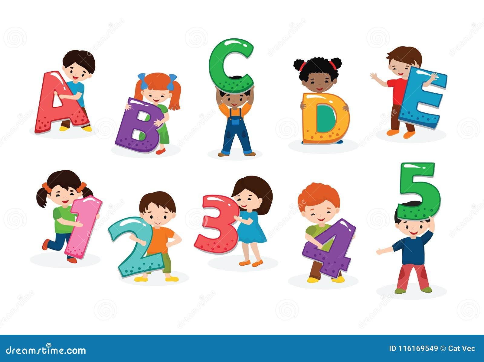 Fuente de los niños del vector del alfabeto de los niños y carácter del muchacho o de la muchacha que celebra el ejemplo de la le