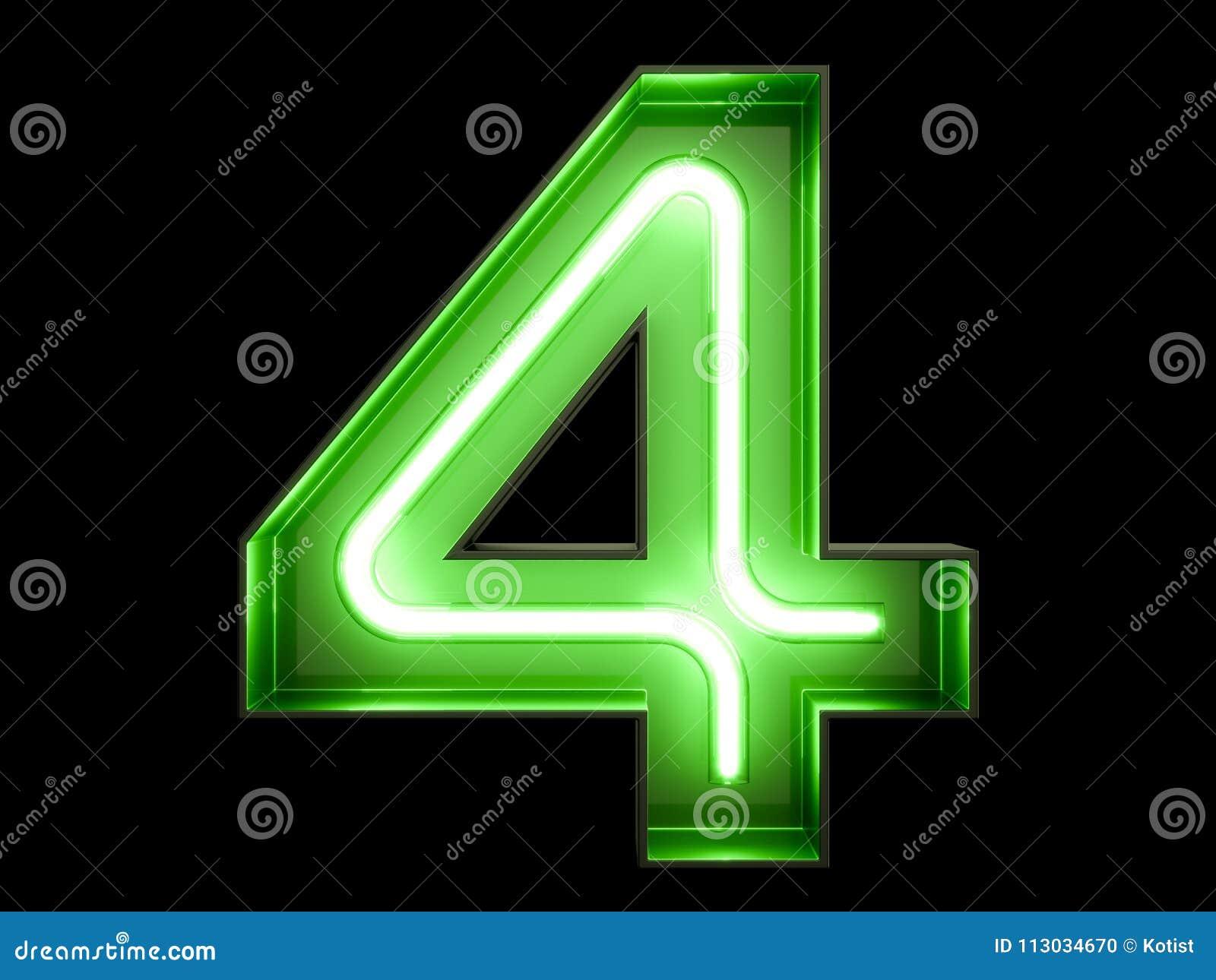 Fuente de neón cuatro del carácter 4 del alfabeto del dígito de la luz verde
