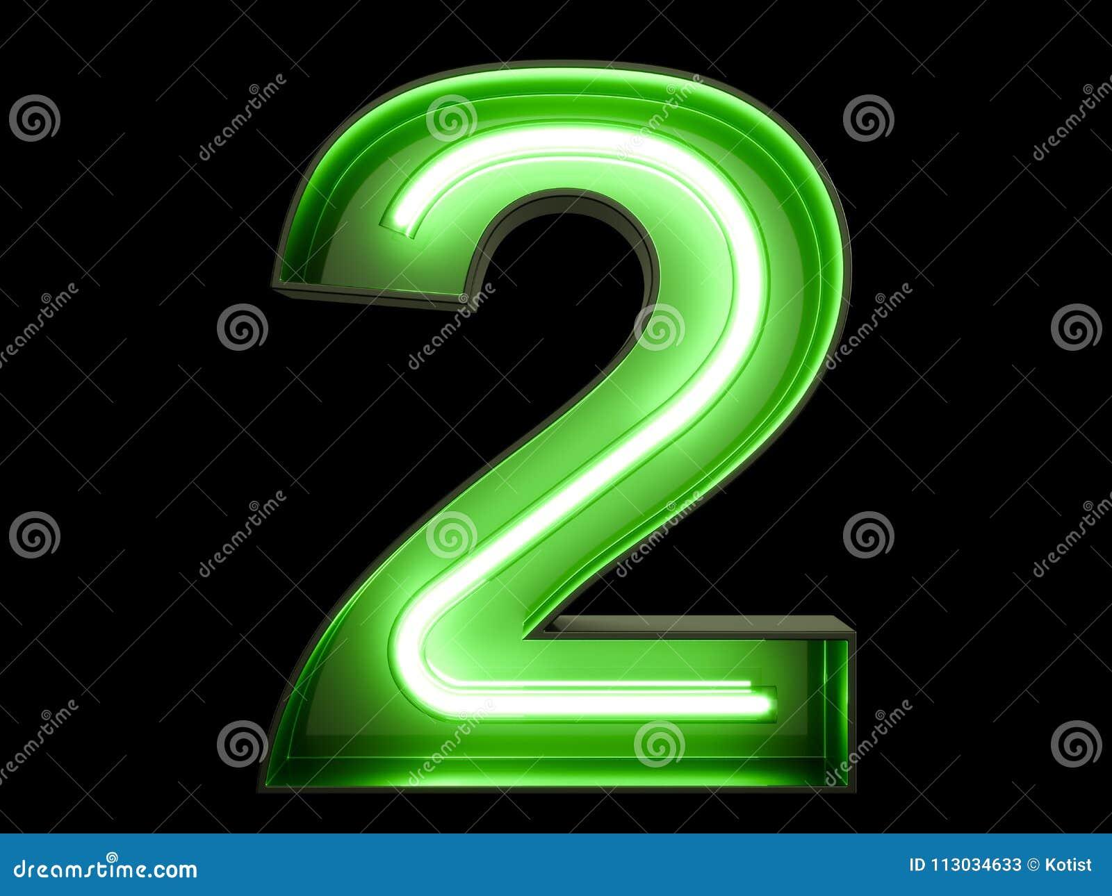 Fuente de neón dos del carácter 2 del alfabeto del dígito de la luz verde