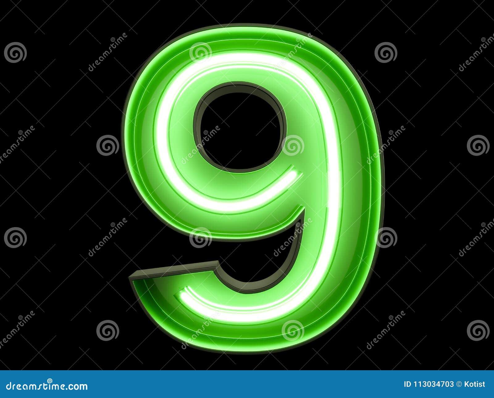 Fuente de neón nueve del carácter 9 del alfabeto del dígito de la luz verde