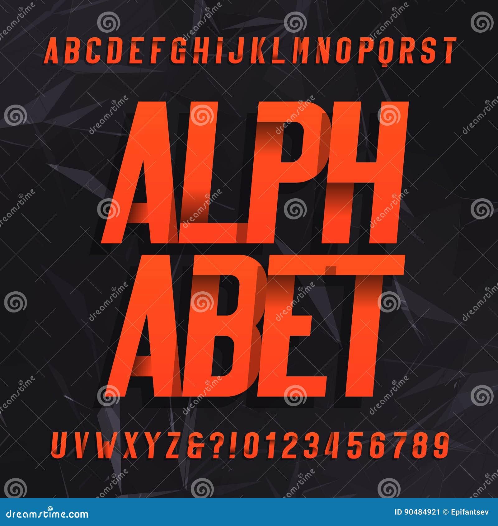 Fuente de vector decorativa del alfabeto Símbolos y números oblicuos de letras en un fondo abstracto oscuro
