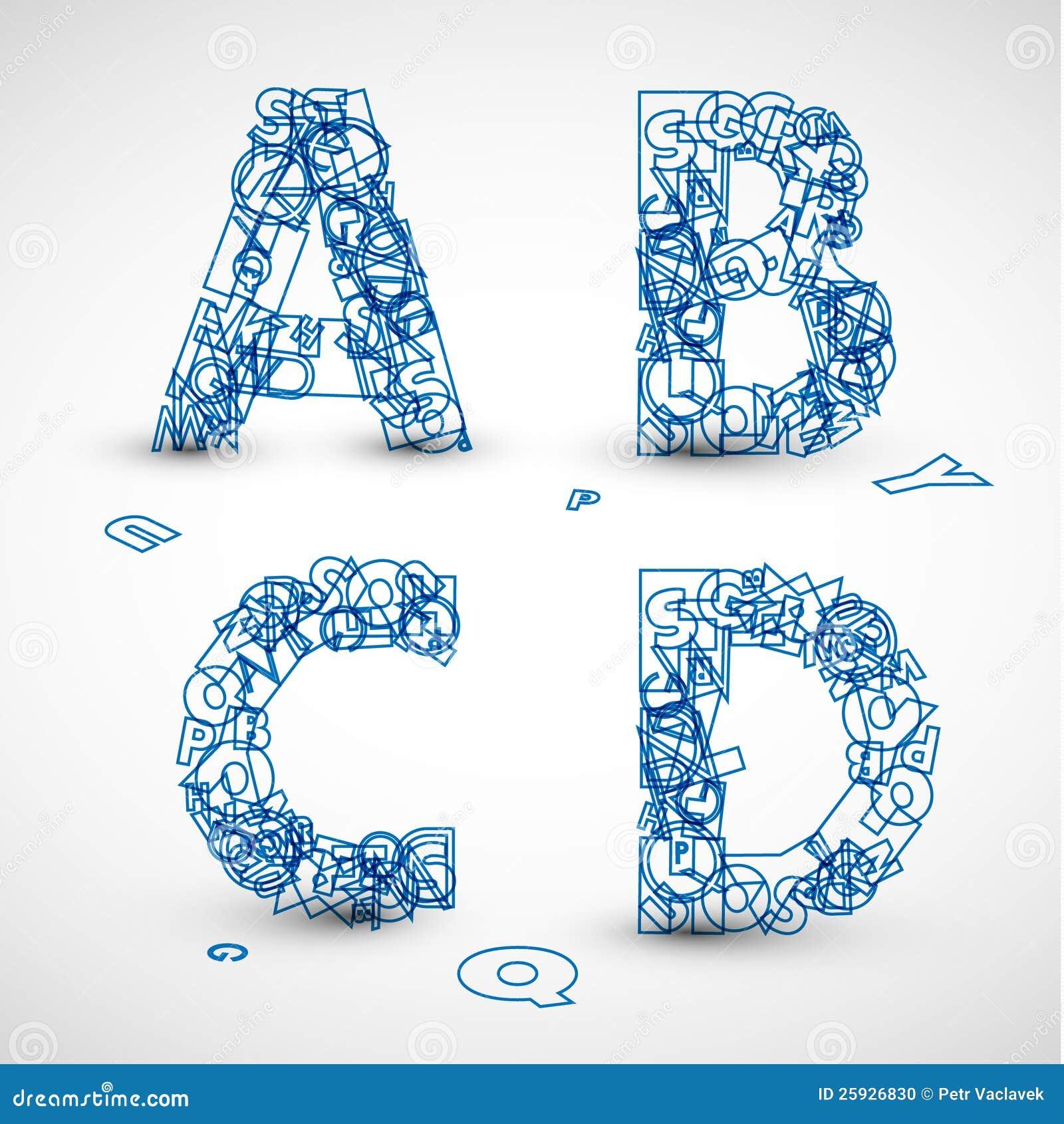 fuente de vector hecha de las cartas azules del alfabeto ilustraci u00f3n del vector