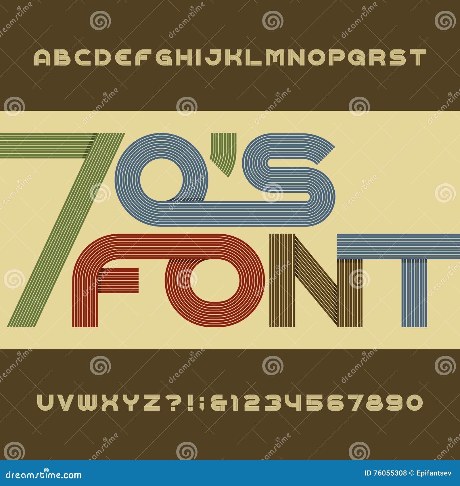 Fuente de vector retra del alfabeto de la raya Tipo enrrollado letras, números y símbolos en estilo de los años 70