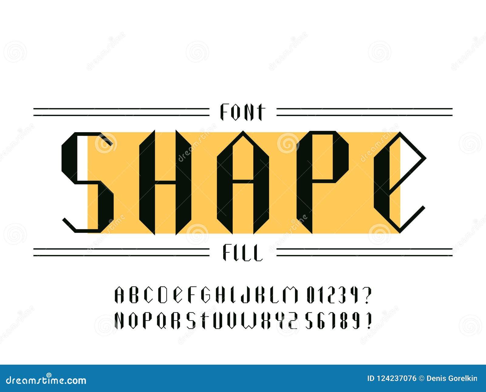Fuente del terraplén de la forma Alfabeto del vector