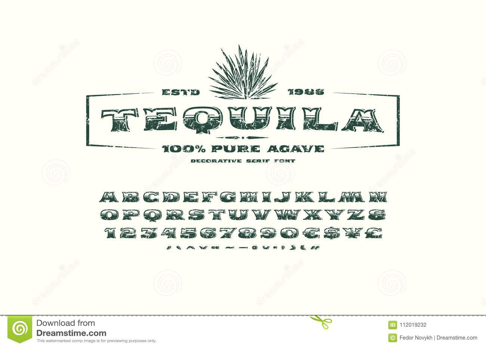 Fuente Del Trazo De Pie Y Plantilla Adornadas De La Etiqueta Para El ...