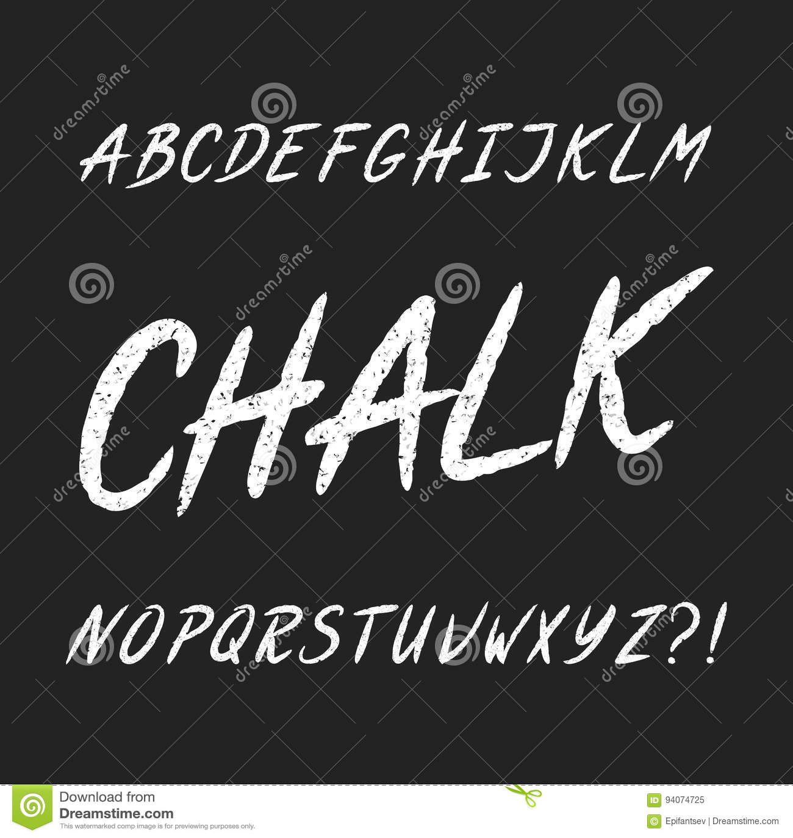 Fuente dibujada mano del alfabeto del tablero de tiza Letras mayúsculas