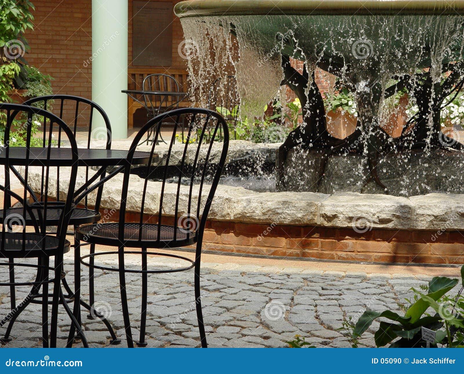Fuente en los jardines