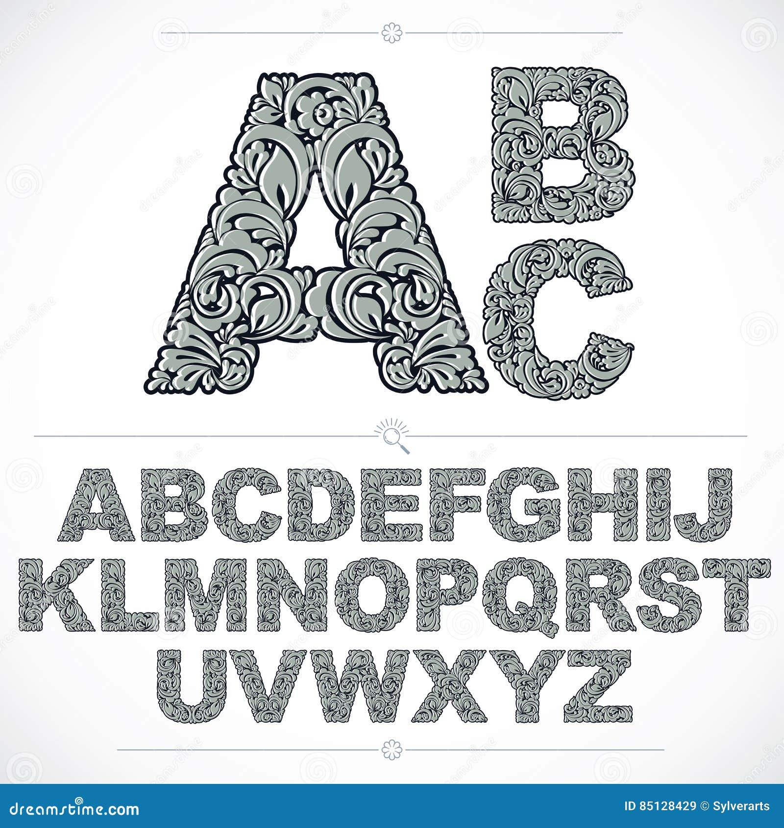 Fuente floral, letras capitales del alfabeto del vector a mano