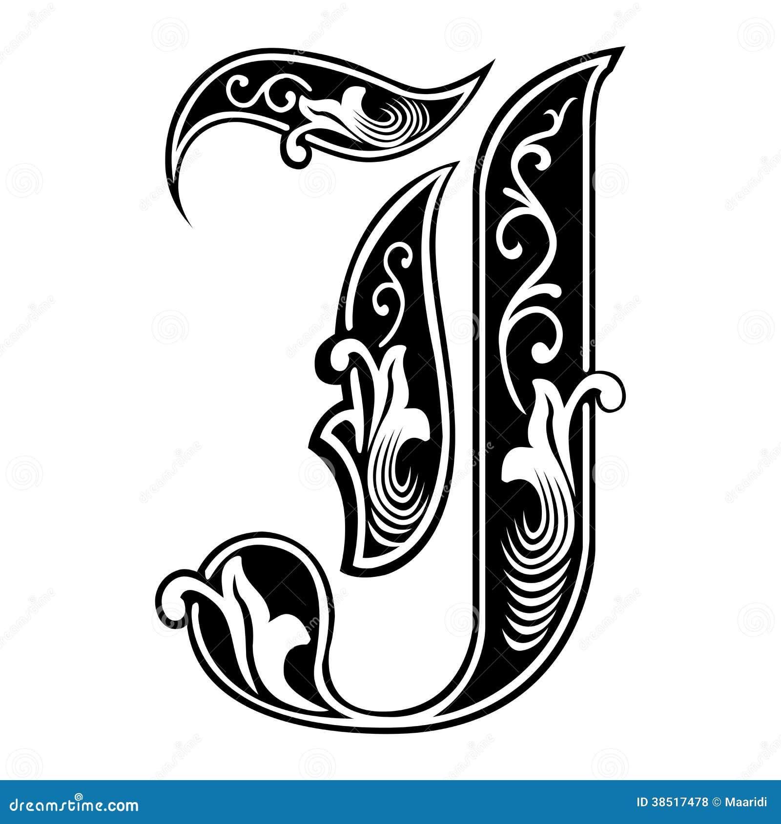 fuente gótica adornada del estilo letra j ilustración del vector