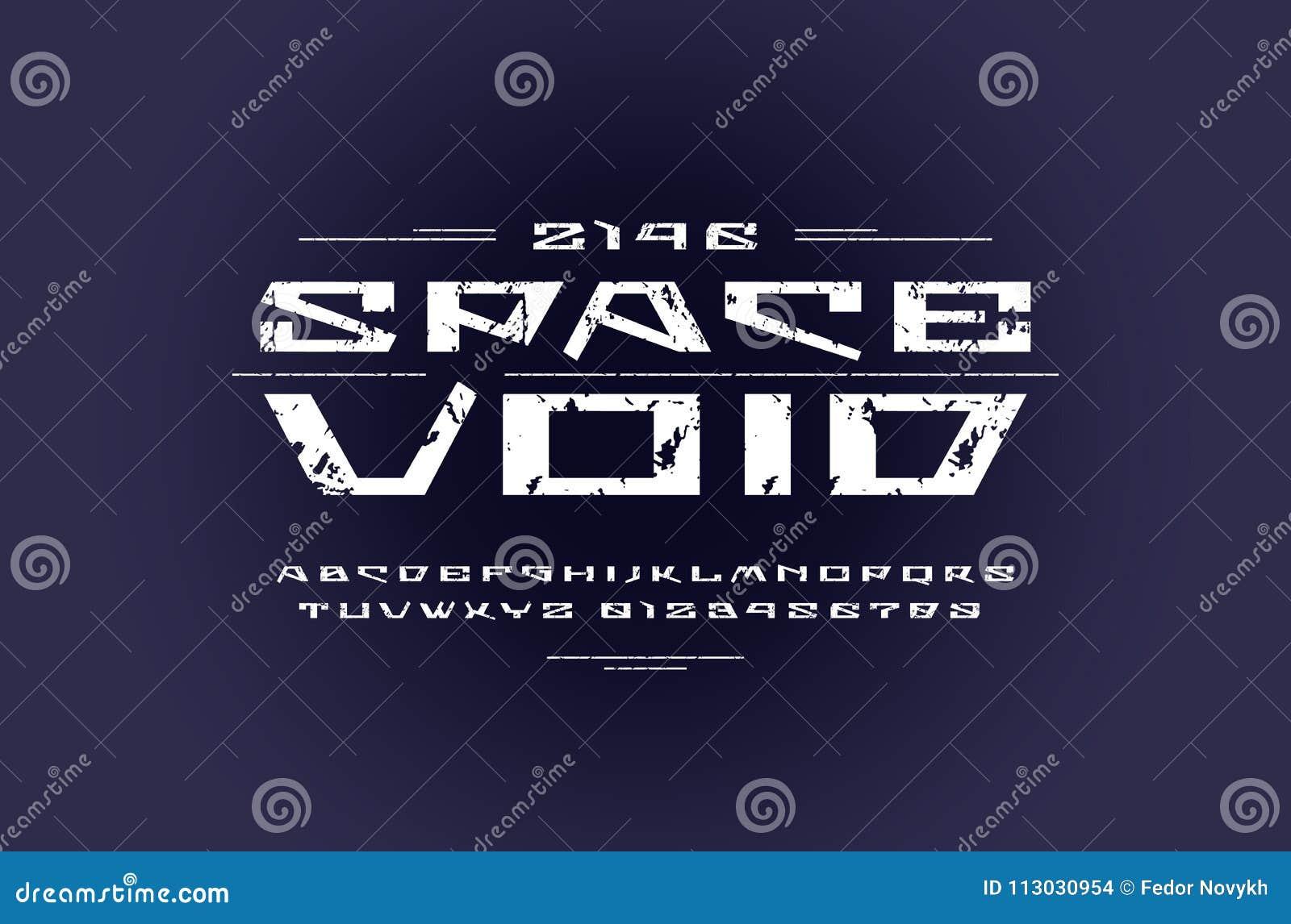 Fuente geométrica de sans serif en estilo futurista