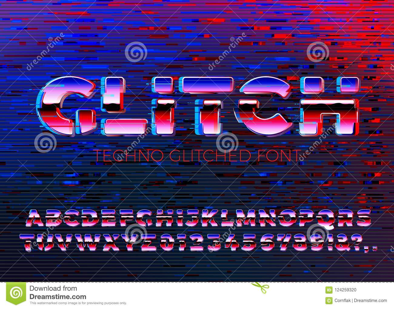 Fuente gliched vector del techno con distorsiones