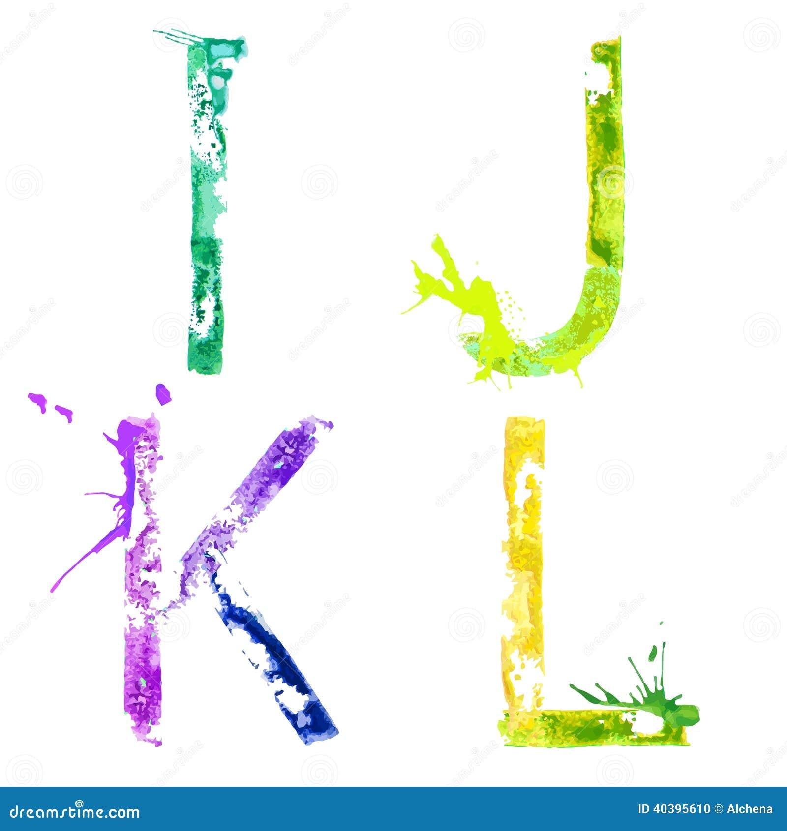 Fuente I, J, K, L del chapoteo de la pintura del vector