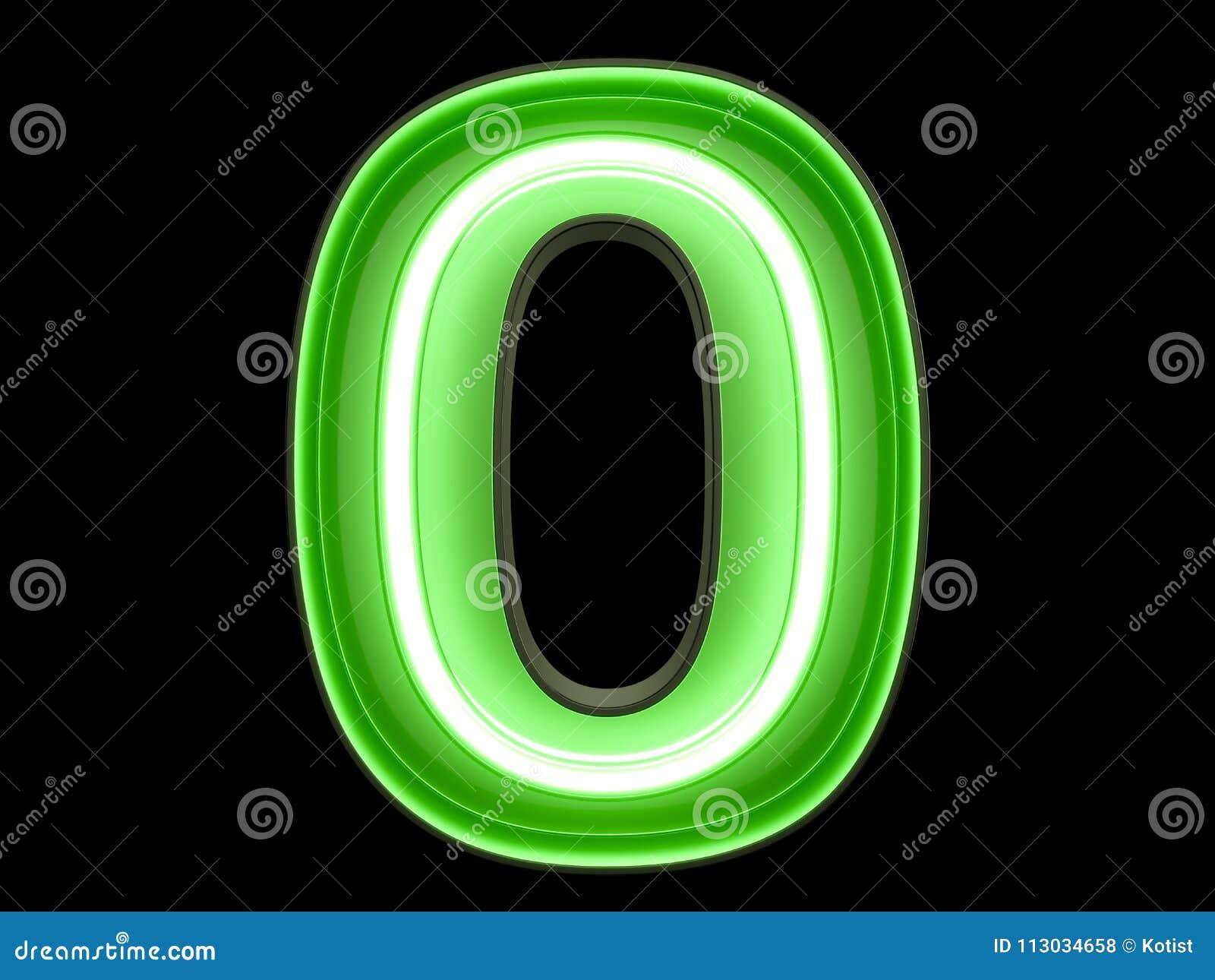 Fuente nula cero del carácter 0 de neón del alfabeto del dígito de la luz verde