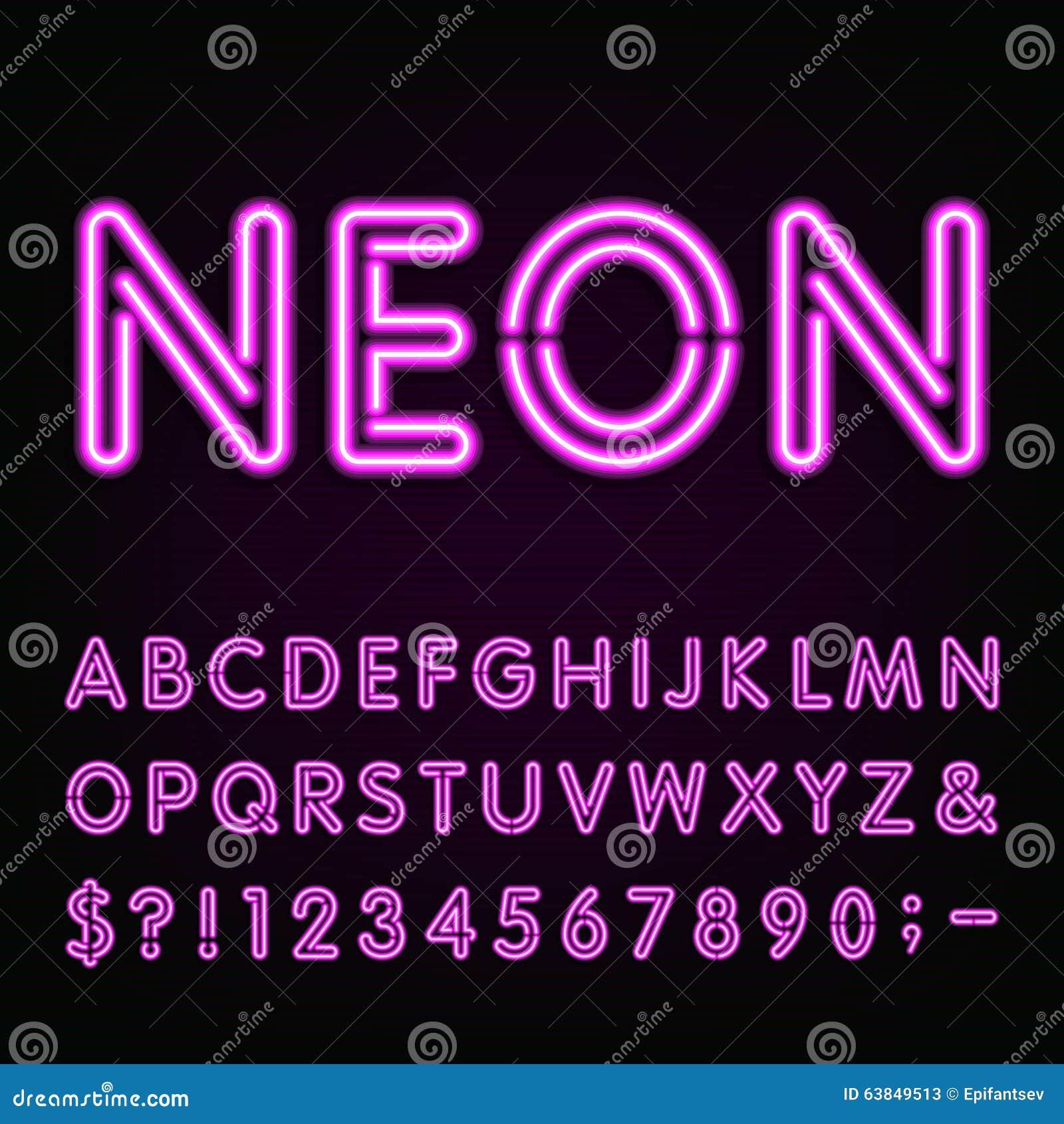 Fuente púrpura del alfabeto de la luz de neón