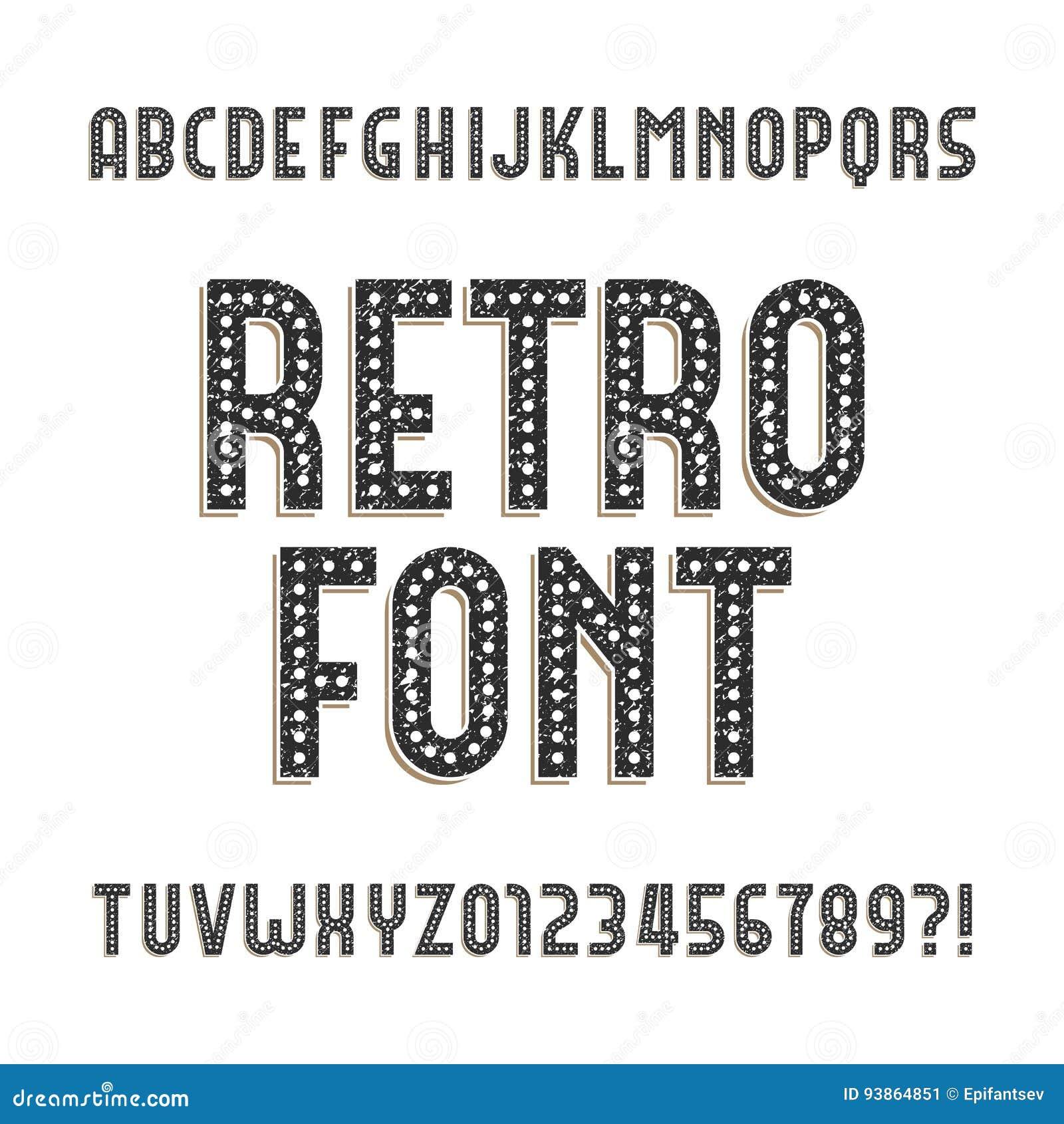 Fuente retra del alfabeto Letras y números apenados ásperos