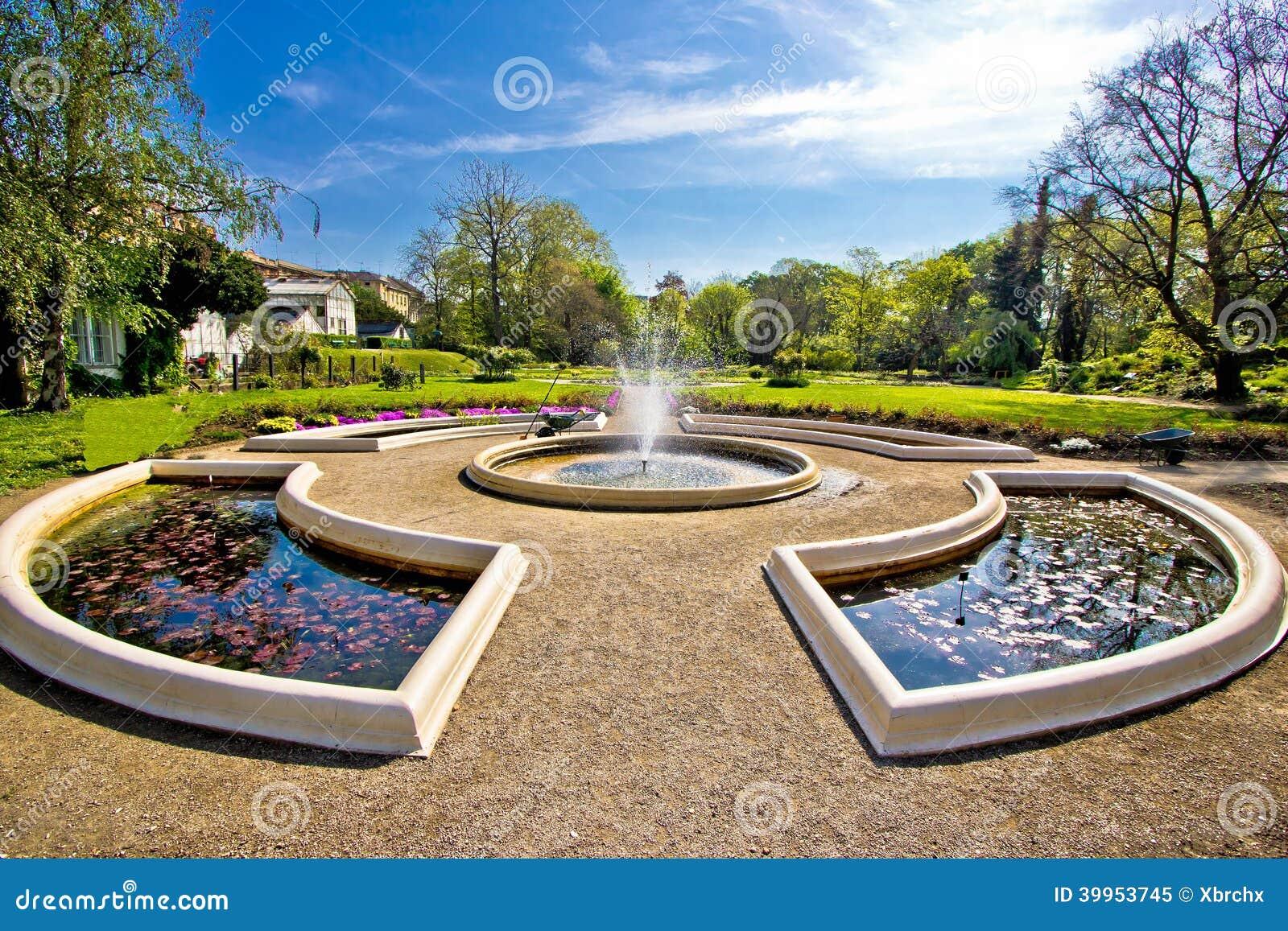 Fuente y parque en Zagreb
