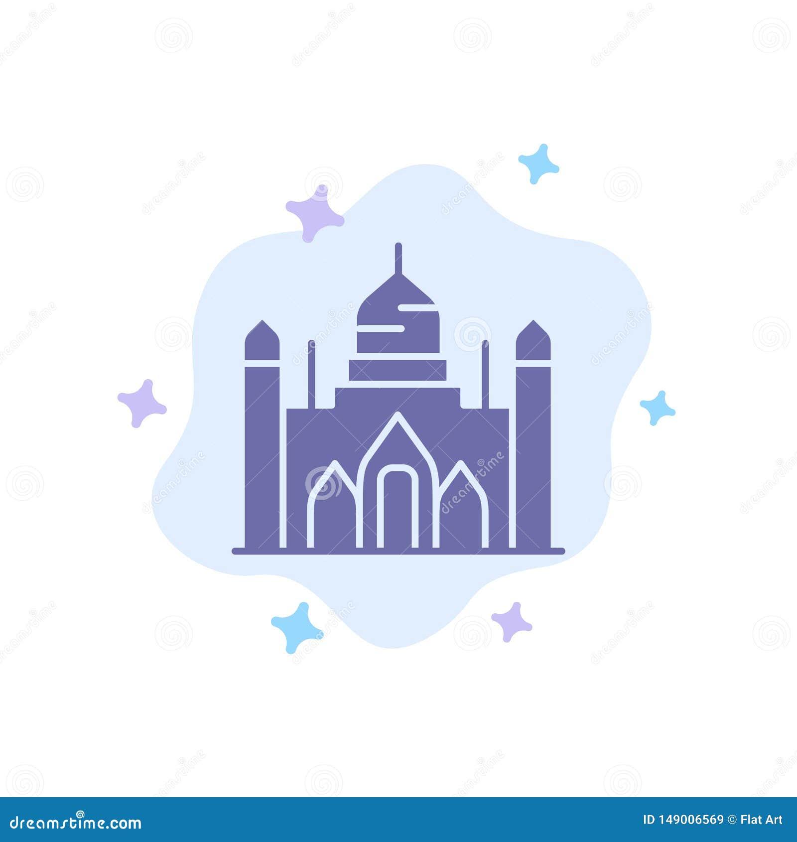 Fuerte de Aurangabad, Bangladesh, Dacca, icono azul de Lalbagh en fondo abstracto de la nube