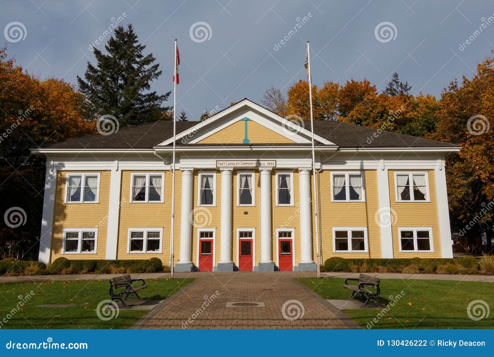 Fuerte Langley, Canadá - circa 2018 - fuerte Langley Community Hall