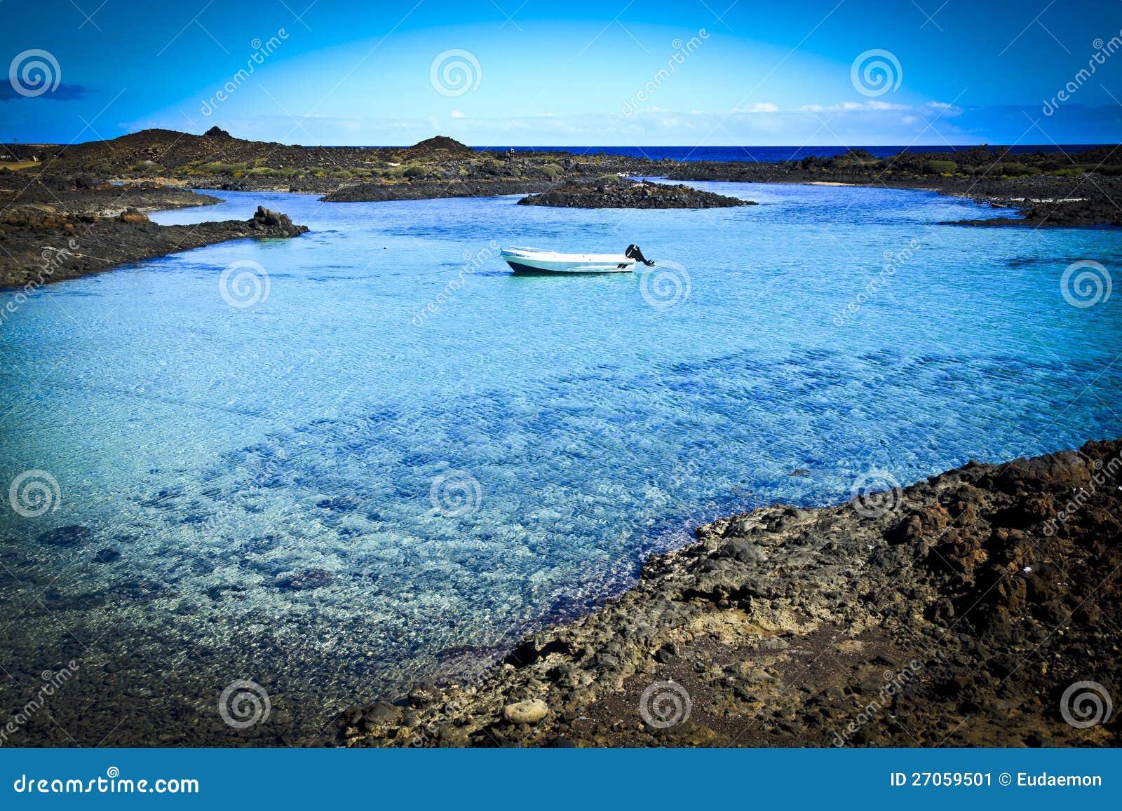Fuerteventura Isla De Los Lobos Bay 1 Stockbild - Bild von küste ...